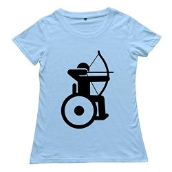 Goldfish Women'S Style Ring Spun Cotton Wheelchair Archery T-Shirt Skyblue Us Size S