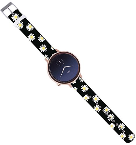 Moto-360-2nd-Gen-Band-42Mm16Mm-Watch-Strap-Band-Leather-Moto-360-2nd-Gen-42Mm-Women-Version-Replacement-with-Quick-Release-Pins-Beautiful-Small-Yellow-Flower-Floral-Design