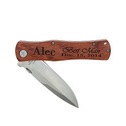 Eliml(Tm) Monogrammed Personalized 4.5 Inch Wood Handle Foldable Pocket Knife With Clip For Wedding Party