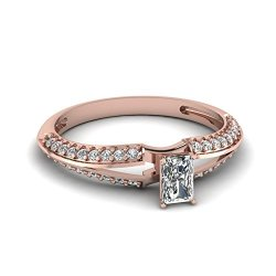 Fascinating Diamonds 0.70 Ct Radiant Cut Vvs2-G Diamond Knife Edge Split Band Engagement Ring 14K Gia