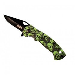 "New 7.5"" Mini Folding Spring Assisted Knife Green Skull Handle Design With Clip"