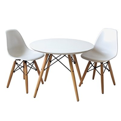 Set-of-Two-2-White-Kids-Eames-Style-Retro-Modern-Dining-Room-Mid-Century-Shell-Chair-Metal-Natural-Wood-Dowel-Leg-Base-Plastic-Molded-Armless-No-Arm-Arms-Children-Kid-Designer-Side-Chairs