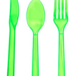 Party Essentials Plastic Cutlery Assortment And Knives/Forks/Spoons, Neon Green, 17 Place Setting-Count