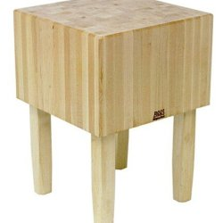 "Boosblock Aa Professional Prep Table With Butcher Block Top Size: 24"" W X 24"" D, Leg Material: Wood"