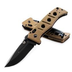 Benchmade Adamas Folding Knife Plain Edge Bk Coated Blade / Sand Color G10 Handles / Sand Molle Pouch Model Bksn