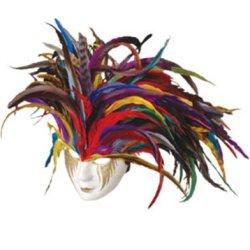 Deluxe Paper Mache Feather Mardi Gras Carnival Costume Mask