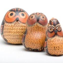 """Gourd Owl Set Of Three 3.5"""" Hand Carved Fair Trade Peru"""
