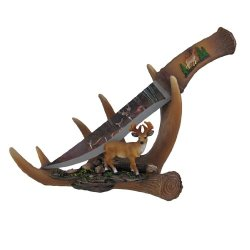 `Six Point Blade` Decorative Deer Knife With Antler Display Stand