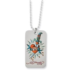Fun With Knife Dog Tag Necklace By Ed Hardy Jewelry, Best Quality Free Gift Box Satisfaction Guaranteed