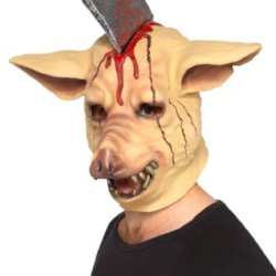 Smiffy'S Men'S Pig Head Mask With Impaled Butcher Knife Full Overhead On Display Card, Multi, One Size