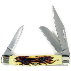 Ruko 2-3/4-Inch 3-Blades Delrin Deer Horn Handle Pocket Knife, Tsa 2013 Carry On