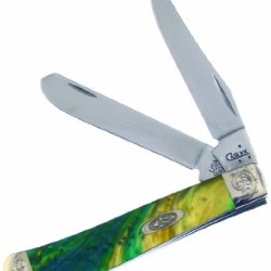 Case Cutlery 9207Ce/E Case Cats Eye Corelon Engraved Mini Trapper Pocket Knife With Stainless Steel Blades, Teal, Blue And White Mixed Corelon
