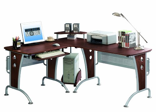 Picture of Comfortable Mad Tech 33x57x67 Mahogany Mdf Panel & Steel Frame Computer Office Desk Table (B004W0MI3Q) (Computer Desks)