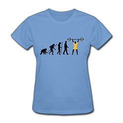 Women'S Evolution Weight Lifing Eco-Friendly Cotton T-Shirt Size Xxl Color Sky