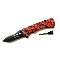 "New 8.5"" Zombie War Red & Black Skull Design Handle Spring Assisted Knife With Belt Clip & Fire Starter"