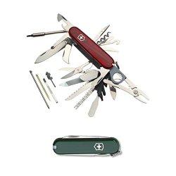 Victorinox 53504 Swiss Army Swisschamp Xlt (Translucent Ruby) And Classic Sd Pocket Knife (Hunter Green)
