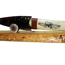 Native Bear Scrimshaw Obsidian Blade Knife