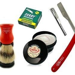 Straight Razor Barber Folding Knife With Omega Shaving Cream Shaving Brush And 100 Derby Blades
