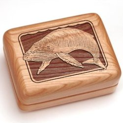 """3X4"""" Box With Money Clip/Pocket Knife - Humpback Whale"""