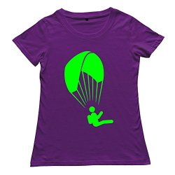 Goldfish Women'S Awesome Casual Paragliding T-Shirt Purple Us Size Xl