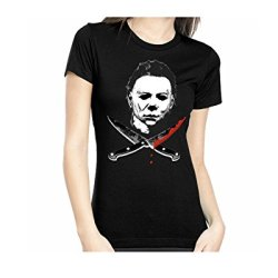 Rock Rebel Mike Myers Crossed Knives Halloween Womens T Shirt Large
