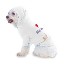 I Love/Heart Hillary Clinton Hooded T-Shirt For Dog Or Cat X-Small (Xs) White