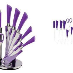 Black Current Purple Precision Knife Stainless Steel 7Pc Set With Holder / Block / Stand Easy Grip Handles