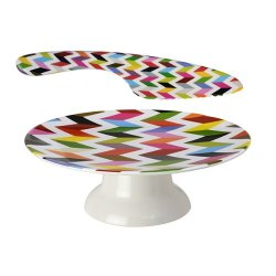 French Bull 118Css Melamine Cake Stand And Knife Set, Ziggy