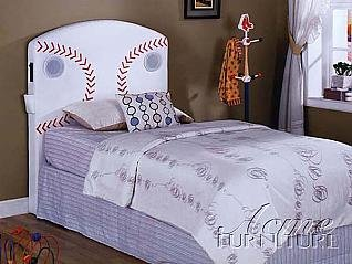 Image of Twin Size Kids Youth Headboard with Speakers in Baseball Design (VF_AM0968T)