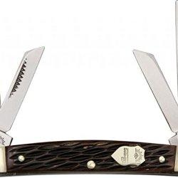 German Eye Congress Folding Knife,3.375In Closed,Solingen Steel Blade, Black Jigged Bone 56 Bone
