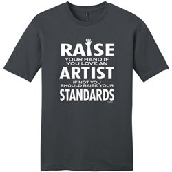 Love An Artist If Not Raise Your Standards Young Mens T-Shirt Medium Charcoal