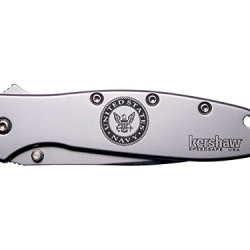 Navy Naval Logo Engraved Kershaw Leek 1660 Ken Onion Design Folding Speedsafe Pocket Knife By Ndz Performance