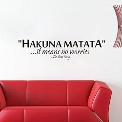 Top-Me Hakuna Matata It Means No Worries Wall Decal - The Lion King - Quote Living Room - Bedroom - Kids Room - Baby Room Tm8211