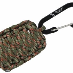 """The Friendly Swede (Tm) Carabiner """"Grenade"""" Survival Kit Pull With Tin Foil, Tinder, Fire Starter, Fishing Lines, Fishing Hooks, Weights, Swivels, Dobber, Knife Blade Wrapped In 500 Lb Paracord In Retail Packaging (Army Green Camo) -Lifetime Warranty"""