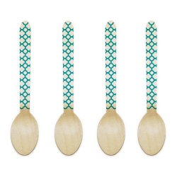 Dress My Cupcake 6.5-Inch Natural Wood Dessert Table Spoons, Aqua Striped, Pack Of 100