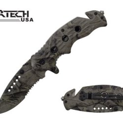 """Wartech 8"""" Spring Assisted Folding Rescue Pocket Knife Real Tree Camo Full Covered"""