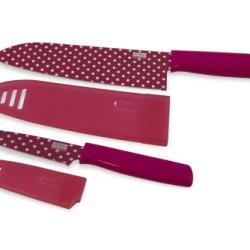 Kuhn Rikon Colori Art Chef'S And Paring Knife, Pink Polka Dot