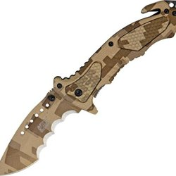 Mtech Ballistic A/O Rescue Folding Knife,3.25In,Assisted Opening Recurved Blade,Desert Mx-A800Dmt