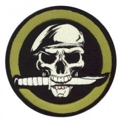 Rothco Mil Skull/Knife Patch W/Hook Backing