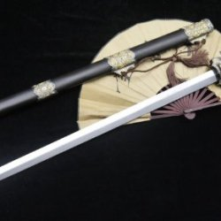 Tang Jian Sword Sale/Damascus Steel Bit/Rosewood/Alloy Double Color/Rope Handle