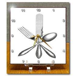 Dc_174022_1 Florene - Vintage Ii - Image Of Knife Fork Spoon Vintage - Desk Clocks - 6X6 Desk Clock