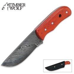 Timber Wolf Bounty Hunter Orange Wood Damascus