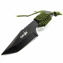 "7.5"" Hunting Tanto Fixed Blade Knife W/ Fire Starter Tactical Survival Military"