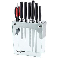 Chefs Toolbox 8Pc Forged Knife & Stainless Steel / Glass Block Set