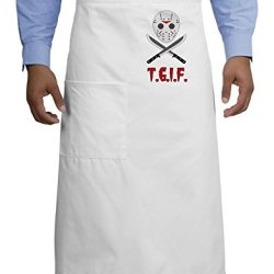 Scary Mask With Machete - Tgif Adult Bistro Apron - White - One-Size