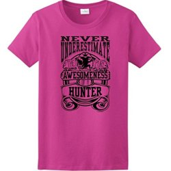 Never Underestimate Awesome Hunter, Hunting Ladies T-Shirt Large Heliconia