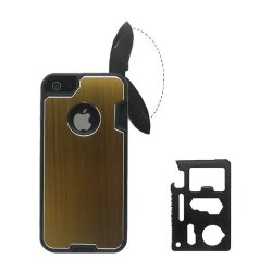 Kabb Fashion Design Metal Yellow Skin Cover With Knife Case For Iphone 5/5S + 1 Camping Multifunctional Knife + 1 Small Gift
