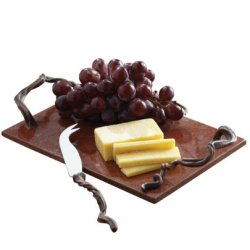 Cheese Board W/ Knife, Stone With Vine Shaped Metal Handles