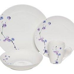 Melange 32-Piece Purple Zen Coupe Porcelain Place Setting Set, Serving For 8
