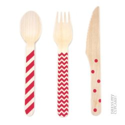 Dress My Cupcake Stamped Wooden Cutlery Set, Chevron/Striped/Polka Dot, Red, 18-Pack